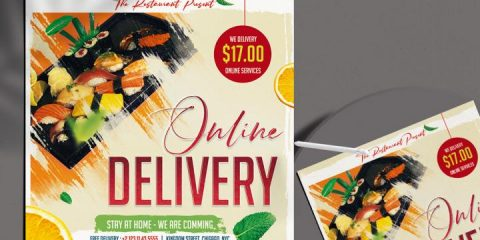 Free Home Online Delivery Flyer Template in PSD
