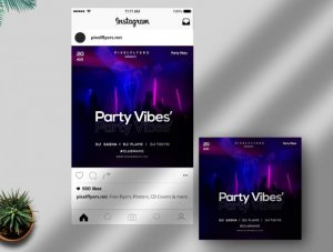 Free Party Vibes Instagram Post Template in PSD