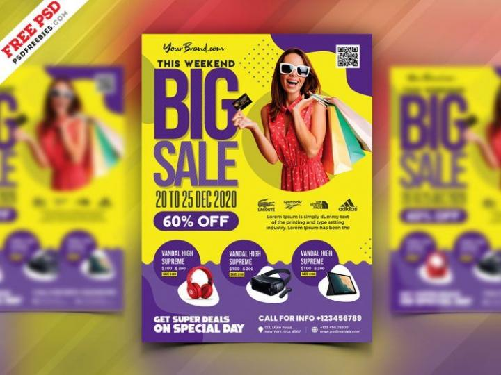 Free Sale Discount Shop Flyer Template in PSD