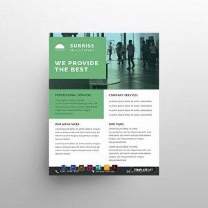 Free Service Datasheet Flyer Templatein PSD