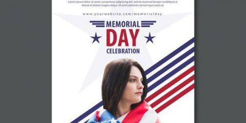 Free Simple Memorial Day Flyer Template in PSD