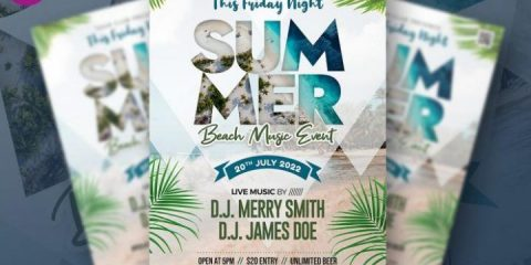 Free Summer Beach Music Event Flyer in PSD