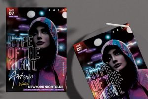 Free Vibe Night Party Flyer Template in PSD