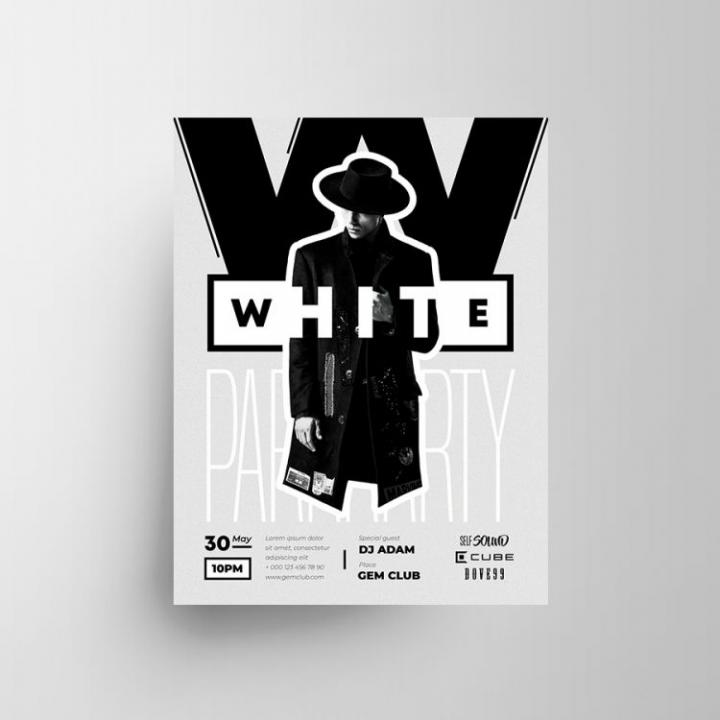 Free White Party Flyer Template in PSD
