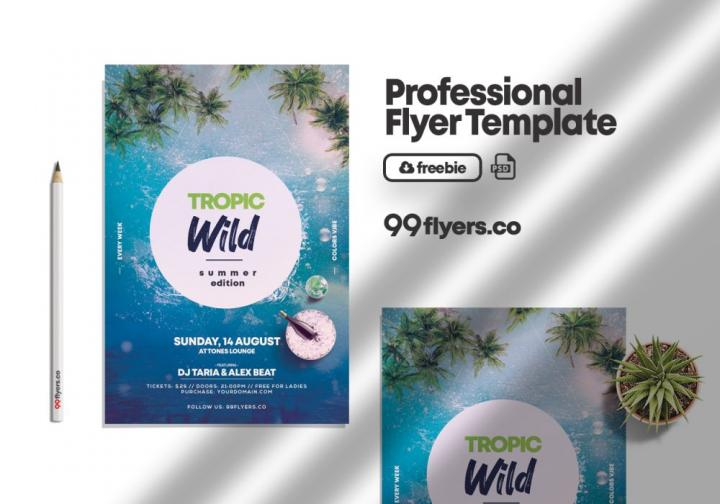 Free Wild Summer Party Flyer Template in PSD