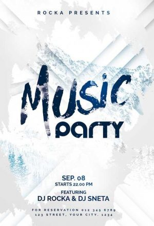 Free Winter Music Party Flyer Template in PSD