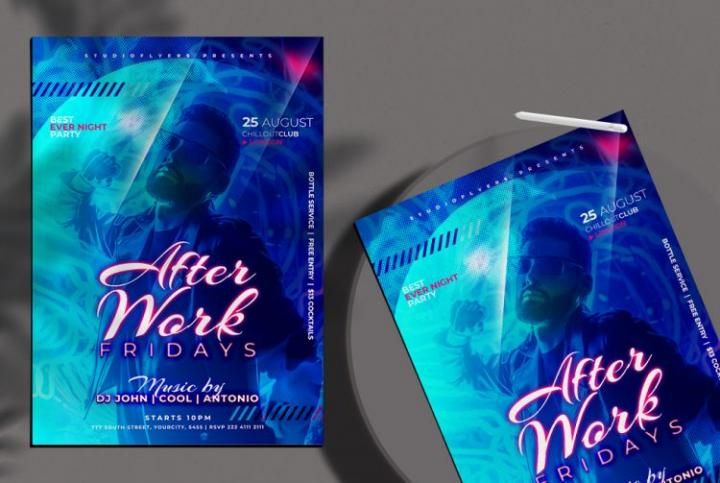 Free After Party DJ Flyer Template in PSD