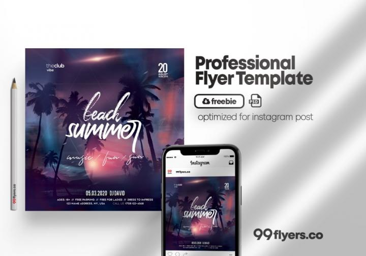 Free Beach Night Event Flyer Template in PSD