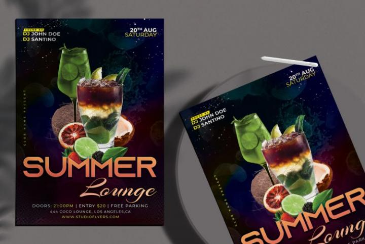 Free Cocktail Party Flyer Template in PSD