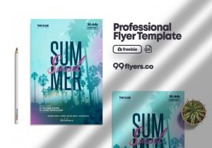 Free Days Of Summer Flyer Template in PSD