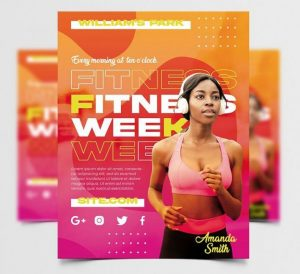 Free Fitness Week Flyer Template in PSD