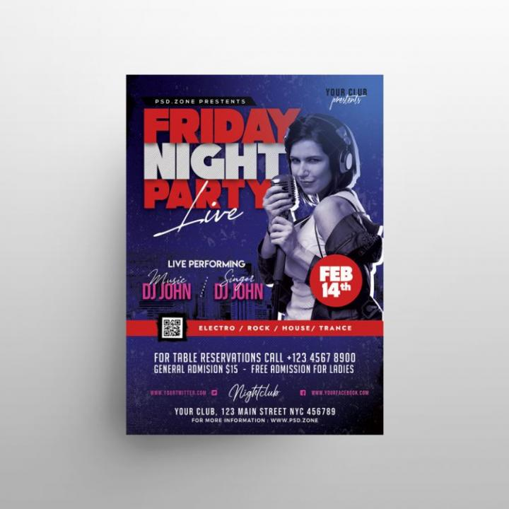 Free Friday Night Club Flyer Template in PSD
