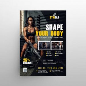 Free Gym Time Fitness Flyer Template in PSD