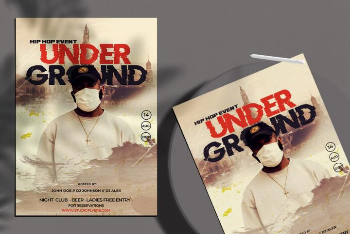 Free Hip Hop Under Ground Flyer Template in PSD