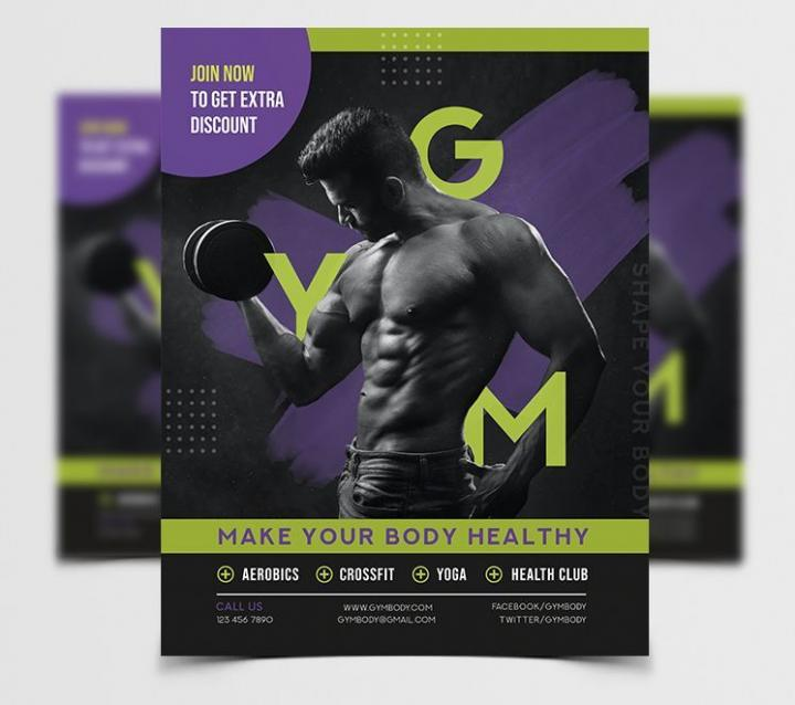 Free Month of GYM Fitness Flyer Template in PSD