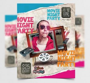 Free Movie Event Retro Flyer Template in PSD