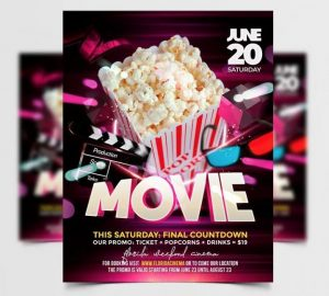 Free Movie Night Flyer Template in PSD