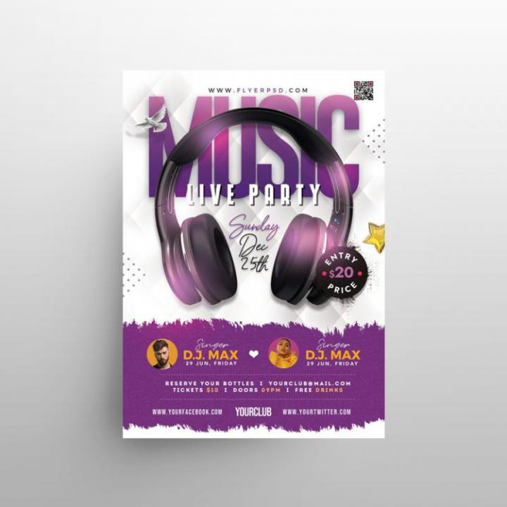 Free Music – Live Party Flyer Template in PSD
