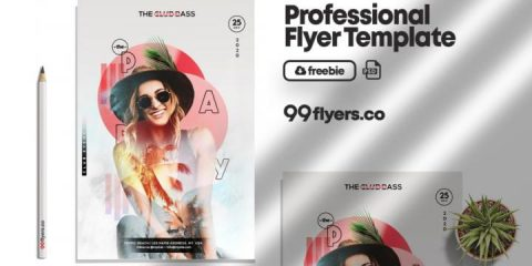 Free Party in Summer Flyer Template in PSD