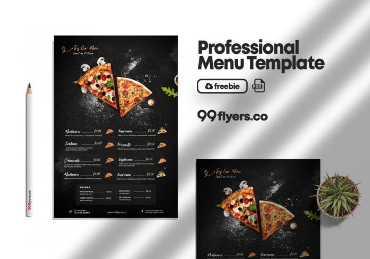 Free Restaurant Food Menu Template in PSD