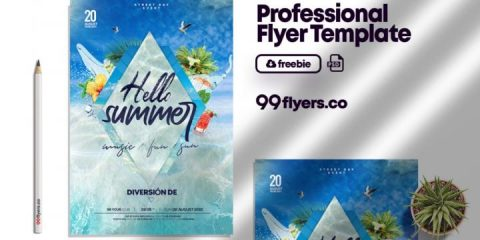 Free Sea Party Summer Flyer Template in PSD