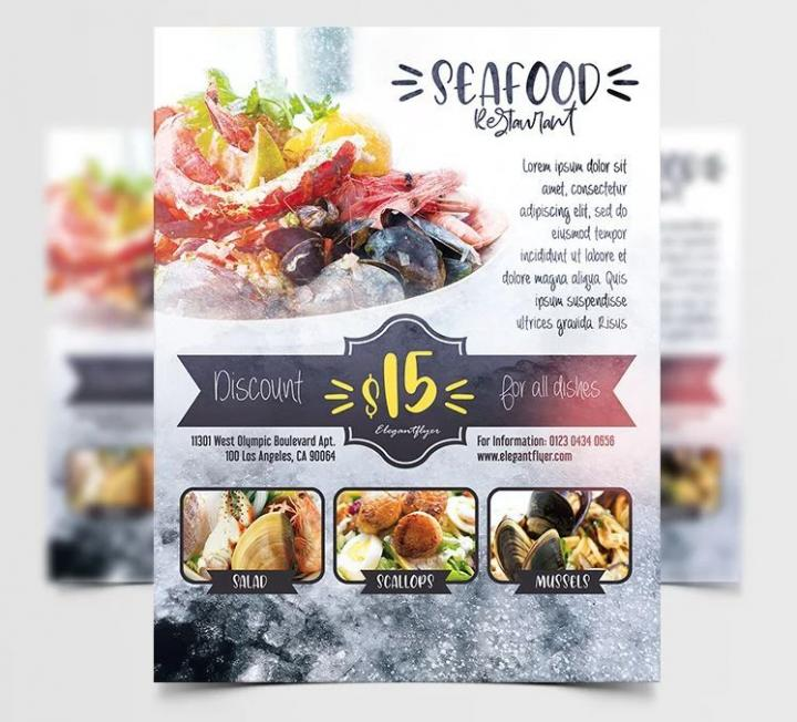 Free Seafood Ad Restaurant Flyer Template in PSD