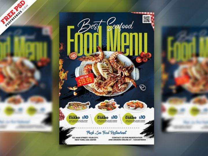 Free Seafood Menu Ad Flyer Template in PSD