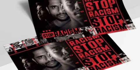 Free Stop Racism Flyer Template in PSD
