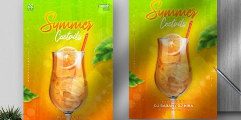 Free Summer Cocktail Flyer Template in PSD
