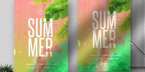 Free Summer Finally Flyer Template in PSD
