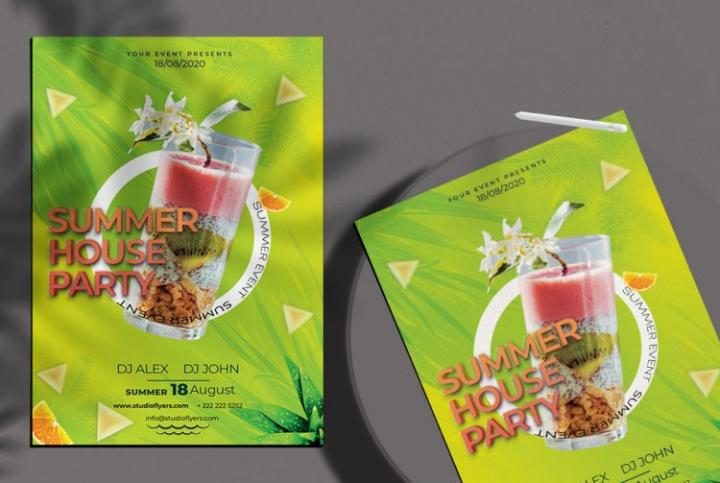 Free Summer House Party Flyer Template in PSD