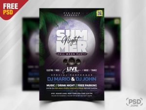 Free Summer Night Party Flyer Template in PSD