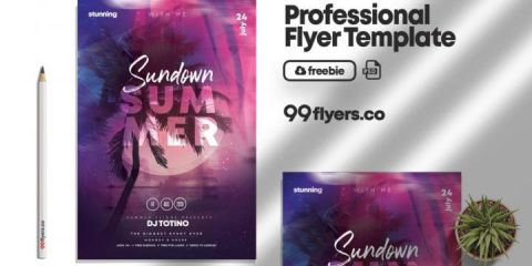 Free Sundown Summer Event Flyer Template in PSD