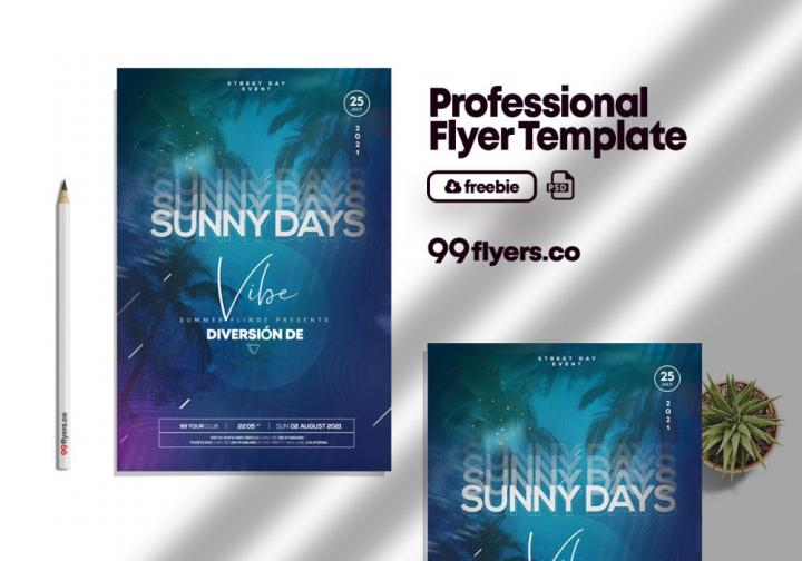 Free Sunny Days Event Flyer Template in PSD