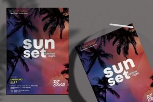 Free Sunset Summer Night Flyer Template in PSD