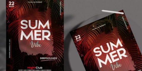 Free The Summer Vibe Flyer Template in PSD