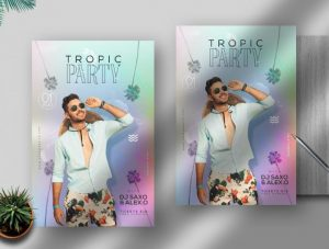Free Tropic Party Event Flyer Template in PSD