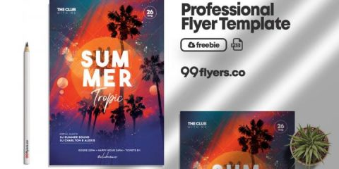 Free Tropic Party Summer Event Template in PSD