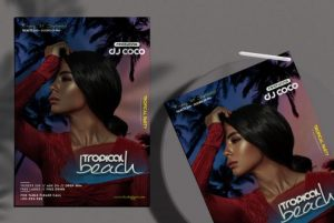 Free Tropical Beach Event Flyer Template in PSD