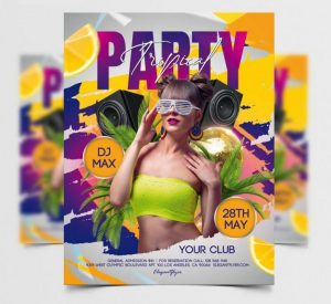 Free Tropical Party Day Flyer Template in PSD