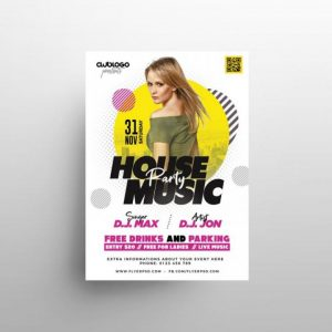 Free White Club Party Flyer Template in PSD