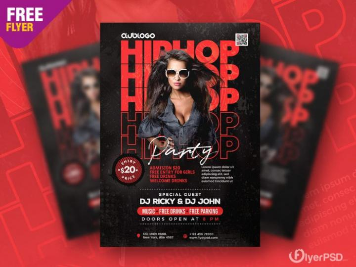 Hip Hop Night Free PSD Flyer Template