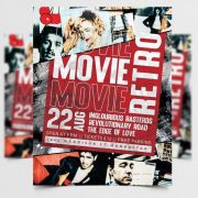 Movie Night Retro Flyer Template in PSD
