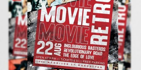 Movie Night Retro Flyer Template in PSD