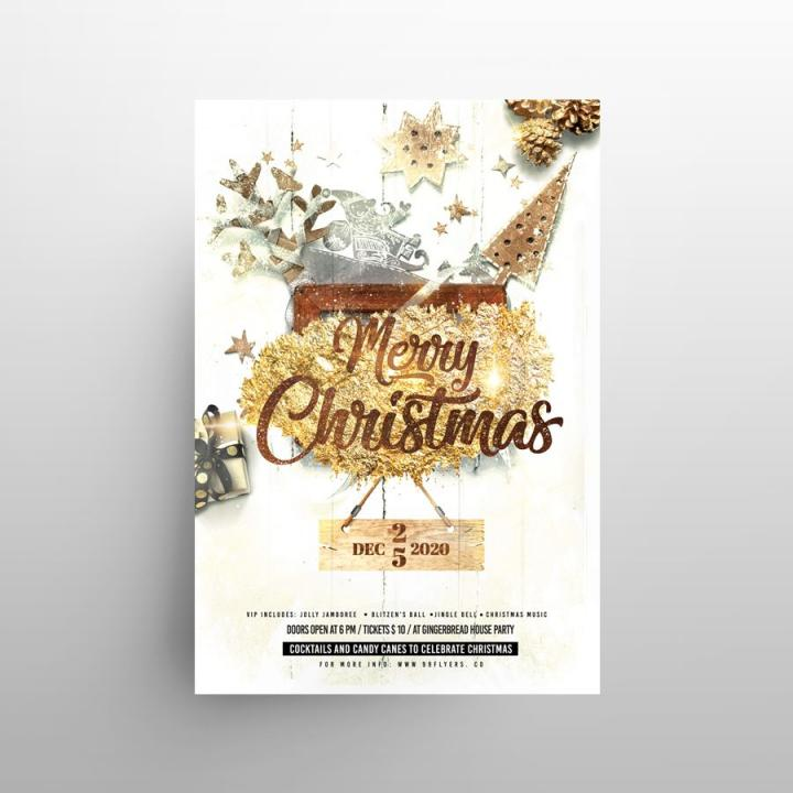 Free White Christmas Party Flyer Template in PSD