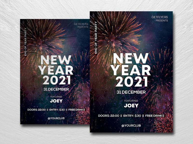 Free 2021 NYE Party Flyer Template in PSD