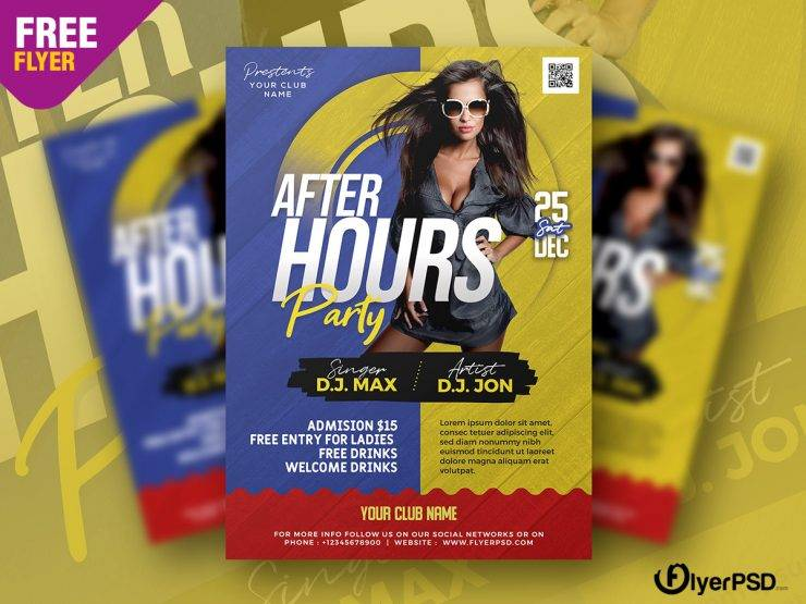 Free After Party Flyer Template in PSD