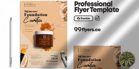Free Beauty Care Products Flyer Template in PSD