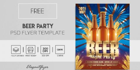 Free Beer Party Flyer Template in PSD