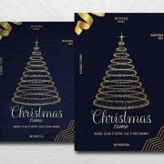 Free Christmas Golden Event Flyer Template in PSD